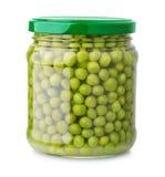 Tarro de cristal de guisantes verdes Imagen de archivo libre de regalías