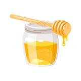 Tarro de cristal de la miel stock de ilustración