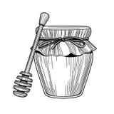 Tarro de cristal de miel, drizzler de madera Aislado en el fondo blanco Imagen aislada en el fondo blanco stock de ilustración