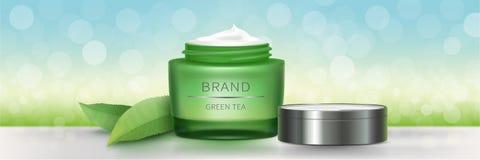 Tarro de cristal verde con crema natural stock de ilustración