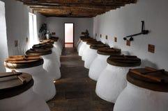 Tarro de la fermentación del aceite de oliva Fotos de archivo libres de regalías