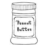 Tarro de la mantequilla de cacahuete Ejemplo del bosquejo con las letras dibujadas mano Fotos de archivo