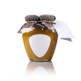Tarro de la miel del prado con la etiqueta y la etiqueta en blanco Fotografía de archivo