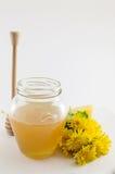 Tarro de la miel y de la flor amarilla del diente de león Imágenes de archivo libres de regalías