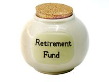 Tarro de los ahorros de la caja de jubilación Imagen de archivo