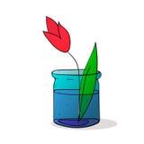 Tarro de los inglass de la flor del tulipán colorized Imagen de archivo libre de regalías
