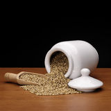 Tarro de loza de barro con las semillas de la cebada Imagen de archivo libre de regalías