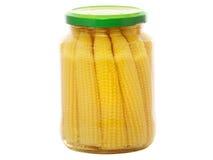 Tarro de maíz de bebé conservado Fotografía de archivo