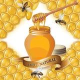 Tarro de miel con el cazo de madera ilustración del vector