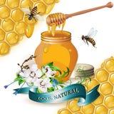 Tarro de miel con el cazo de madera stock de ilustración