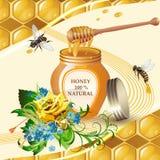 Tarro de miel con el cazo de madera Fotografía de archivo libre de regalías