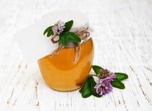 Tarro de miel con el trébol Imagen de archivo