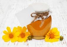 Tarro de miel con las flores del cosmos Fotografía de archivo libre de regalías