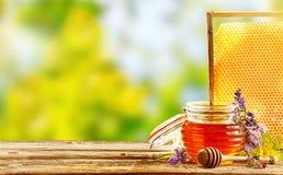 Tarro de miel fresca con las flores y el panal Foto de archivo