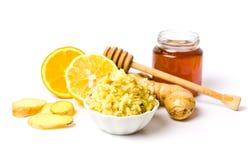 Tarro de miel y anaranjado, postre de la miel aislado en blanco Imagen de archivo libre de regalías