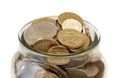 Tarro de monedas australianas Imágenes de archivo libres de regalías
