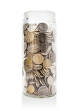 Tarro de monedas australianas fotografía de archivo
