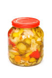 Tarro de Pickels aislado Fotografía de archivo
