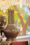Tarro de plata auténtico tailandés antiguo hermoso, plata grabada retra Imagen de archivo libre de regalías