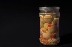 Tarro de setas del champiñón Fotografía de archivo libre de regalías