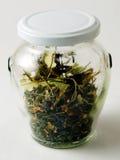 Tarro de té herbario Foto de archivo