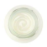 Tarro de yogur fresco, visión superior Fotografía de archivo