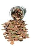 Tarro del dinero con las monedas euro Foto de archivo