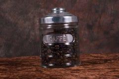 Tarro del grano de café Imagen de archivo