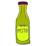Tarro del Pesto Ejemplo dibujado mano del bosquejo Botella del Pesto aislada Imagen de archivo libre de regalías
