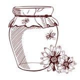 Tarro dibujado Hannd de miel, de flores y de abejas Ilustración del vector bosquejo Imágenes de archivo libres de regalías
