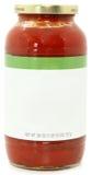 Tarro en blanco de la escritura de la etiqueta de salsa de espagueti Fotografía de archivo libre de regalías