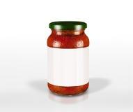 Tarro en blanco de la escritura de la etiqueta de salsa de tomate Imágenes de archivo libres de regalías