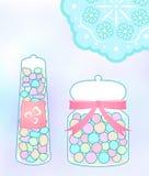 Tarro en colores pastel del caramelo Fotografía de archivo libre de regalías