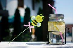 Tarro fresco de la limonada con la paja Foto de archivo