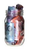 Tarro o billetes de banco australianos Foto de archivo libre de regalías