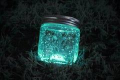 Tarro que brilla intensamente azul en el musgo Fotos de archivo libres de regalías