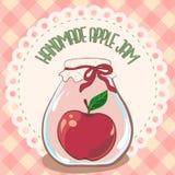 Tarro rojo hecho a mano del atasco de la manzana en etiqueta del tapetito del cordón y mantel de la guinga Ejemplo del vector, EP Fotografía de archivo libre de regalías