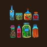 Tarro sano vegetal de la comida del ejemplo del vector Imagenes de archivo