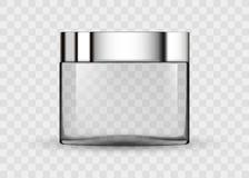 Tarro transparente de cristal para la crema cosmética Foto de archivo libre de regalías