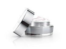 Tarro y crema cosméticos grises imagen de archivo libre de regalías