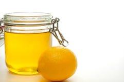 Tarro y limón de la miel Imagen de archivo libre de regalías