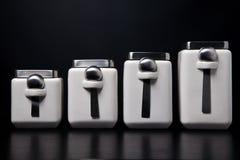 Tarros blancos de la cocina Fotografía de archivo libre de regalías