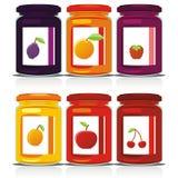 Tarros coloreados aislados del atasco fijados Imagen de archivo
