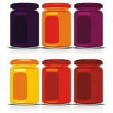 Tarros coloreados aislados del atasco fijados Foto de archivo libre de regalías