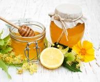 tarros con la miel Fotografía de archivo