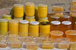 tarros con la miel Fotografía de archivo libre de regalías