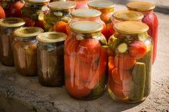 Tarros con la variedad de verduras conservadas en vinagre preservación Imágenes de archivo libres de regalías