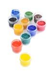 Tarros con las pinturas del color Foto de archivo