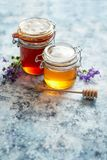 Tarros con los diferentes tipos de miel orgánica fresca imagen de archivo libre de regalías