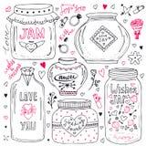 Tarros de albañil lindos fijados Las tarjetas del día de San Valentín dan la colección exhausta del garabato El vector desea el t Foto de archivo libre de regalías